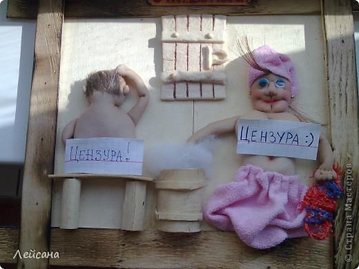 """Принимайте мою вторую работу на тему """"любителей сауны"""". МК барельефных кукол в стране уже есть, поэтому объясню следующие детали.  фото 3"""
