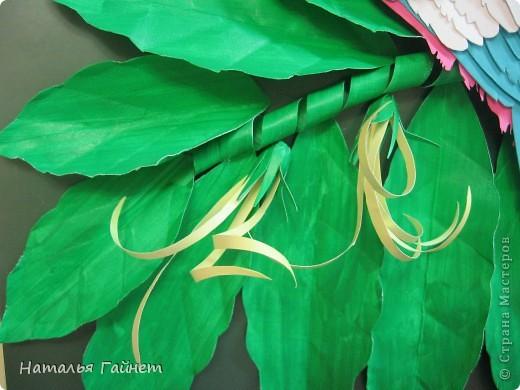Венценосный голубь в листве иланг-иланг. Размер без рамки 21*30см. Такую птицу вырезала первый раз. фото 11