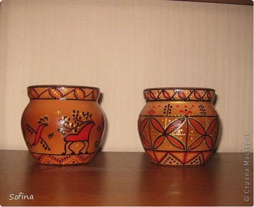 Глиняные горшочки, роспись контурами