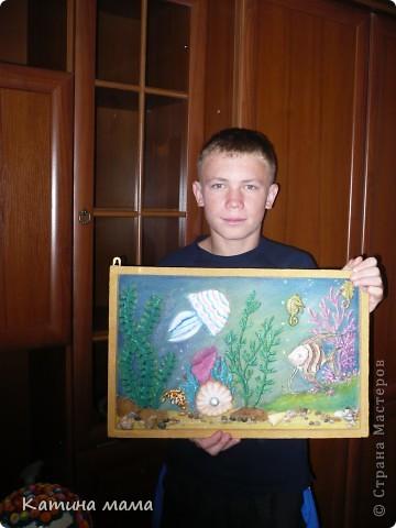 """""""Подводный мир"""" Картинки из песка, роспись акварель. фото 1"""