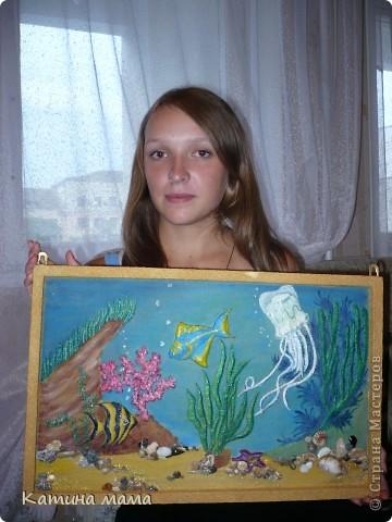 """""""Подводный мир"""" Картинки из песка, роспись акварель. фото 2"""