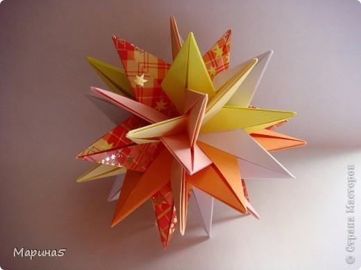 Кусудама TUVWXYZ Star Автор Mukerji Meenakshi. Модули 8 на 8 см. Итог примерно 11см. МК http://www.youtube.com/watch?v=UnieR9O-CY8 фото 3