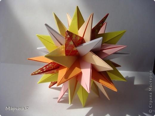 Кусудама TUVWXYZ Star Автор Mukerji Meenakshi. Модули 8 на 8 см. Итог примерно 11см. МК http://www.youtube.com/watch?v=UnieR9O-CY8 фото 1