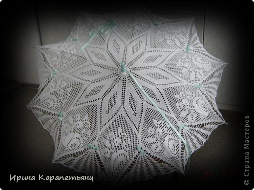 Зонтик для невесты, авторская работа, связано вручную в одном экземпляре, диаметр купола до 100см фото 5