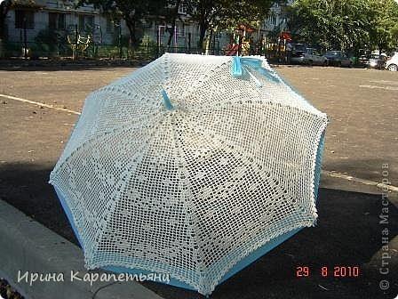 Зонтик для невесты, авторская работа, связано вручную в одном экземпляре, диаметр купола до 100см фото 2