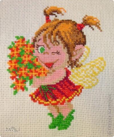 Щенок-почтальон, Искусница, 143 8 цветов. 48*60 крестиков.  11*14 см. Март 2008 года. фото 3