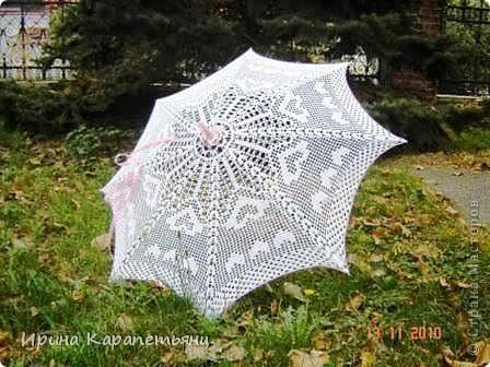 Зонтик для невесты, авторская работа, связано вручную в одном экземпляре, диаметр купола до 100см фото 1