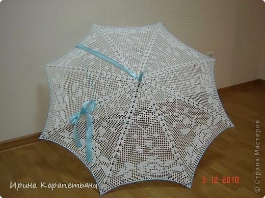 Зонтик для невесты, авторская работа, связано вручную в одном экземпляре, диаметр купола до 100см фото 3