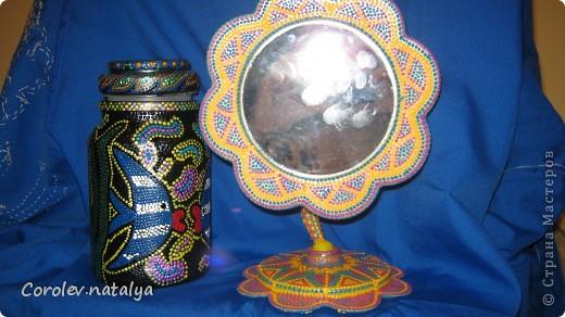 Стеклянная баночка и пластиковое зеркало расписаны в точечной технике фото 1