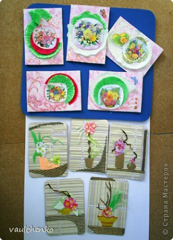 """Как же появляются эти маленькие карточки? Иногда совершенно случайно: прислали чудесные подарочки - красивую бумагу, а дочка купила наклеечки с цветами. И вот.... История аранжировки цветов - писать на карточке это очень длинно, поэтому просто - """"БУКЕТЫ"""" Карточки разделены на группы - совершенно разные  по художественному оформлению! фото 1"""