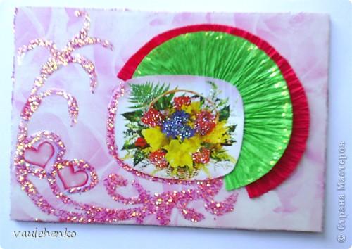 """Как же появляются эти маленькие карточки? Иногда совершенно случайно: прислали чудесные подарочки - красивую бумагу, а дочка купила наклеечки с цветами. И вот.... История аранжировки цветов - писать на карточке это очень длинно, поэтому просто - """"БУКЕТЫ"""" Карточки разделены на группы - совершенно разные  по художественному оформлению! фото 5"""