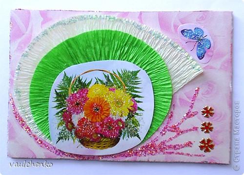 """Как же появляются эти маленькие карточки? Иногда совершенно случайно: прислали чудесные подарочки - красивую бумагу, а дочка купила наклеечки с цветами. И вот.... История аранжировки цветов - писать на карточке это очень длинно, поэтому просто - """"БУКЕТЫ"""" Карточки разделены на группы - совершенно разные  по художественному оформлению! фото 3"""