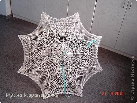 Зонтик для невесты, авторская работа, связано вручную в одном экземпляре, диаметр купола до 100см фото 4