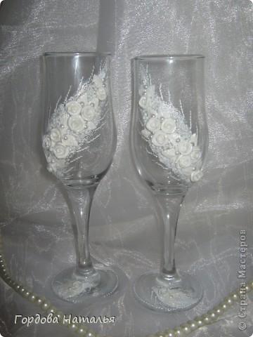 Вот и я наконец сделала свадебные бокалы. Спасибо огромное Ксюше25 и Олесе Ф. за помощь и вдохновение фото 1