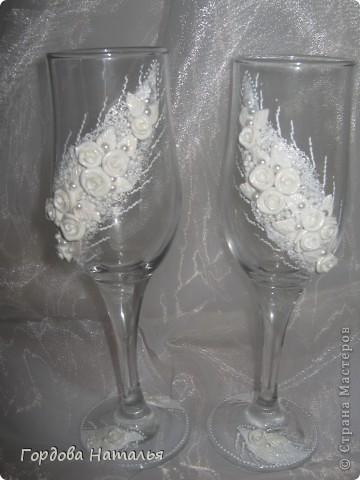 Вот и я наконец сделала свадебные бокалы. Спасибо огромное Ксюше25 и Олесе Ф. за помощь и вдохновение фото 2