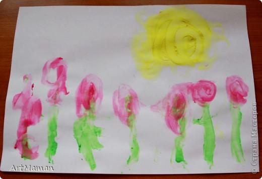 """""""Цветущее дерево""""... получилось в японском стиле :)  Рисовали с дочей 1 г. 8 мес. пальчиковыми красками.     фото 2"""