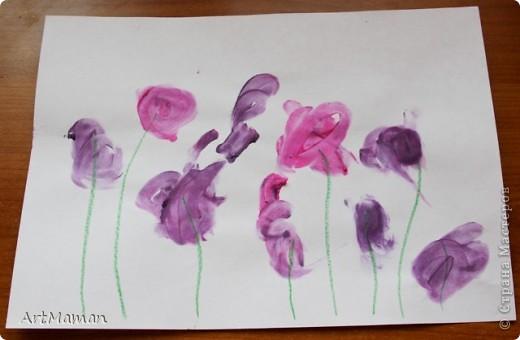 """""""Цветущее дерево""""... получилось в японском стиле :)  Рисовали с дочей 1 г. 8 мес. пальчиковыми красками.     фото 5"""