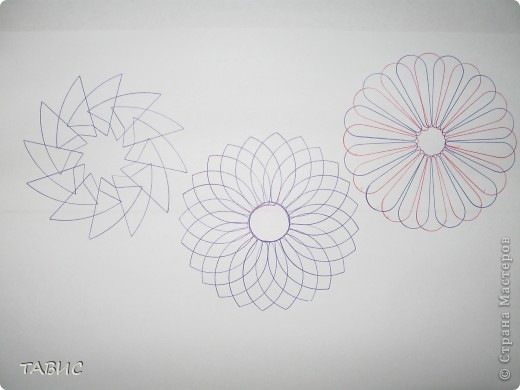 """Эти рисунки сделаны при помощи """"умного"""" прибора спирограф, который позволяет детям и взрослым рисовать композиции аналогичные тем, что получаются при помощи компьютерной программы Coral Draw. Прибор позволяет развивать у детей координацию движений, аккуратность, точность, внимательность, трудолюбие, чувство ритма, фантазию. фото 4"""