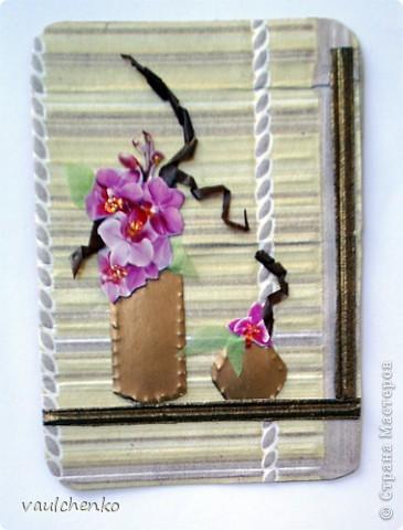 """Как же появляются эти маленькие карточки? Иногда совершенно случайно: прислали чудесные подарочки - красивую бумагу, а дочка купила наклеечки с цветами. И вот.... История аранжировки цветов - писать на карточке это очень длинно, поэтому просто - """"БУКЕТЫ"""" Карточки разделены на группы - совершенно разные  по художественному оформлению! фото 9"""