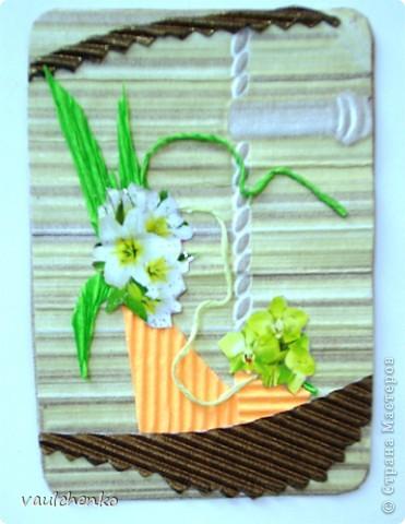 """Как же появляются эти маленькие карточки? Иногда совершенно случайно: прислали чудесные подарочки - красивую бумагу, а дочка купила наклеечки с цветами. И вот.... История аранжировки цветов - писать на карточке это очень длинно, поэтому просто - """"БУКЕТЫ"""" Карточки разделены на группы - совершенно разные  по художественному оформлению! фото 13"""