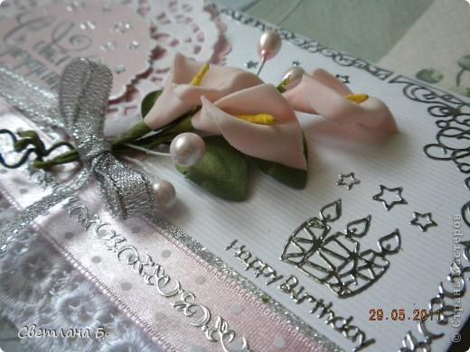 Всем привет! В последнее время у меня не проходит бело-розовое настроение. Уж очень мне нравится такое сочетание цветов. Цветы и листья делала по МК Астории http://asti-n.ya.ru/replies.xml?item_no=550 ,упростив процесс. Вдохновила на создание этой открытки работа Ольги  ya-yalo http://stranamasterov.ru/node/199460?c=favusers  фото 7