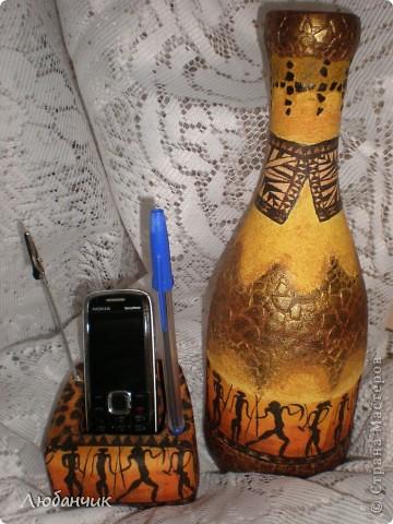 """дошли руки до бутылки...Дочь хотела, чтобы на новой """"вазочке"""" были цветочки, а мне захотелось африканских мотивов. Когда дело было сделано, дочь согласилась, что получилось здорово.  фото 3"""