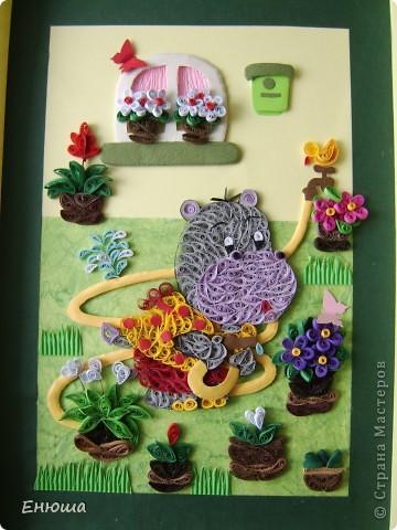 Бегемотик поливает цветы