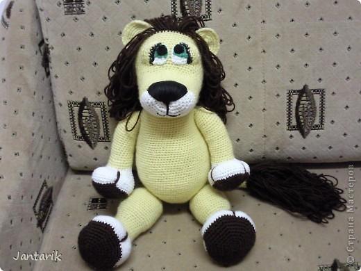 Увидела я у Елены Беловой куклу львёнка и так он мне понравился,что захотелось его связать.Но МК по его изготовлению мне найти не удалось... И тогда я решила всё равно его сделать,так что этот львёнок сделан по фото Елены Беловой,,которая его изготовила по МК AYUVL с сайта Сатилина.Не совсем такой получился,но по-моему хорошенький... фото 2