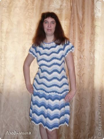 """Голубой сарафан для дочери. Нитки """"Shiny"""" хлопок с люриксом 250м-50гр, ушло 500гр (10мотков). Лиф и юбка связаны ракушками из 5ст с накидом.  фото 4"""