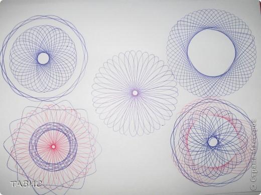 """Эти рисунки сделаны при помощи """"умного"""" прибора спирограф, который позволяет детям и взрослым рисовать композиции аналогичные тем, что получаются при помощи компьютерной программы Coral Draw. Прибор позволяет развивать у детей координацию движений, аккуратность, точность, внимательность, трудолюбие, чувство ритма, фантазию. фото 8"""