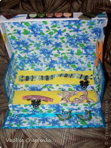 Сделала вот такую шкатулочку в подарок. Мастер-класс тут http://mirsovetov.ru/a/housing/make-myself/jewelry-box.html . В общем, это вид снаружи фото 3