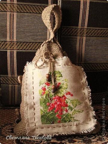 Гардероб Вышивка крестом Вязание крючком Шитьё У меня  родилась сумка Дерево Канва Материал природный Нитки Ткань Шерсть Шпагат фото 1