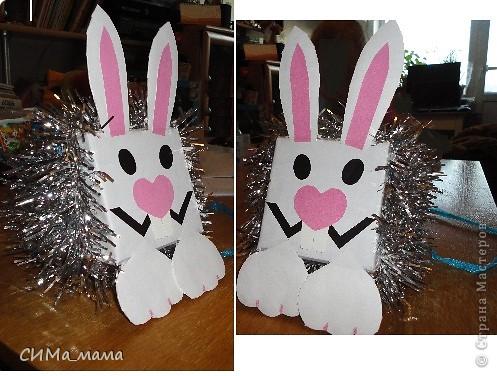 Здравствуйте,   Вот такого кролика делали мы с дочкой в школу на новогодний конкурс ёлочных игрушек для детского сада.