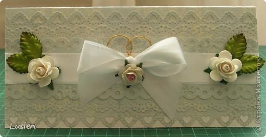 Здравствуйте! У меня ещё 2 открытки сотворились:)) Эта свадебная. Сделала её по мотивам розовой http://stranamasterov.ru/node/196672 фото 1