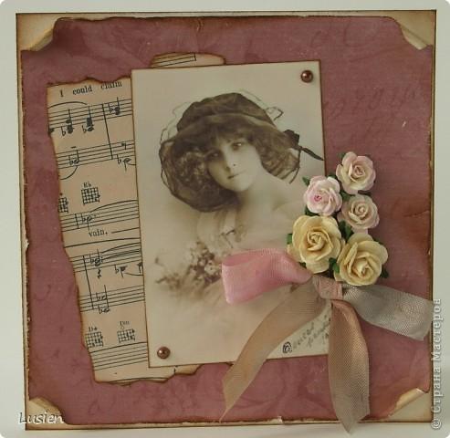 Здравствуйте! У меня ещё 2 открытки сотворились:)) Эта свадебная. Сделала её по мотивам розовой http://stranamasterov.ru/node/196672 фото 2