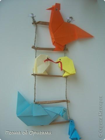 Птичий двор был излюбленной темой в живописи начала ХХ века. В начале ХХI-го века до него добралось и оригами. Все фигурки складываются очень просто и под силу даже маленьким деткам. фото 1
