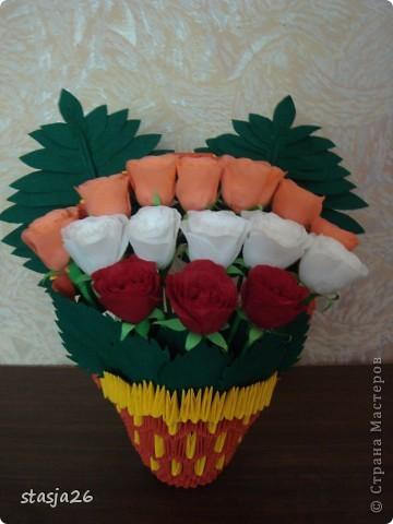 Корзина роз с мк по изготовлению розы фото 1