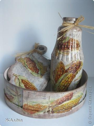 Наборчик для кухни,в деревенском стиле,лёгкое состаривание одношаговым кракелюром. фото 1