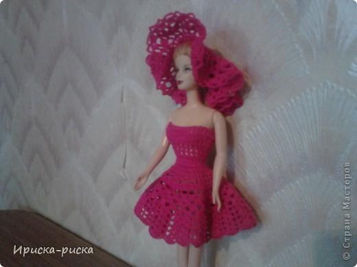 Платье вязаное крючком с панамкой. Вид спереди. Схему нашла в интернете. Ссылка  www.xozaika.spb.ru . Только я его немного изменила. Там связано с бисером и стеклярусом. По ссылке можете посмотреть.  фото 2
