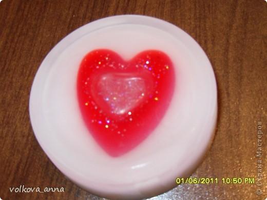 Мыло с сердечком внутри. Аромат клубники. фото 1