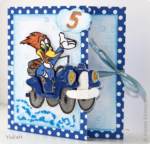 И снова всем привет! Дорвалась я сегодня до компьютера:)) Представляю вам открытку для мальчика на маленький юбилей.  фото 1