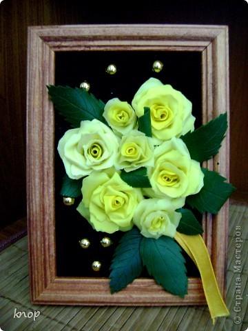 желтые розы на черном бархоте