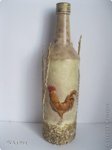 Декор стеклянной бутылки,отделка овсянной крупой,сухой травой. фото 1