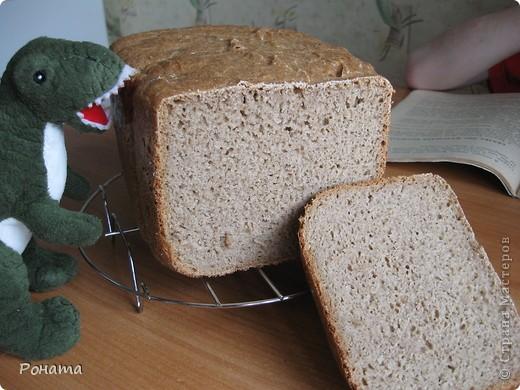 """В прошлом году через некоторое время после покупки хлебопечки возник вопрос: а как испечь хлеб без дрожжей? Был """"перерыт"""" весь интернет, и я начала """"выращивать"""" ржаную закваску. Вот такой ржаной хлебушек получился: фото 2"""