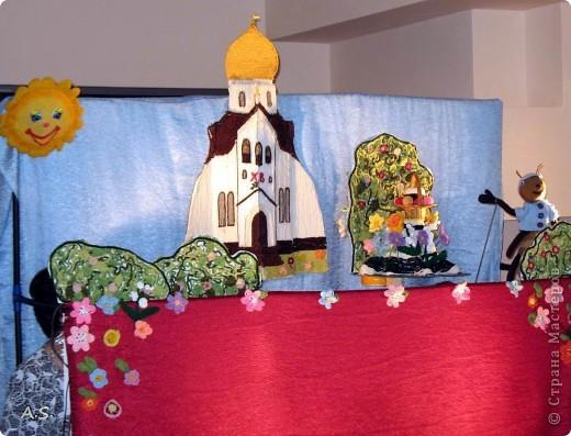 """На Пасху ставили спектакль """"Тёплая слезинка"""" для детей. И куклы и все декорации связаны крючком. Такие необычные декорации к спектаклю сделали мастерицы из нашего семейного клуба """"Ковчег"""" фото 1"""