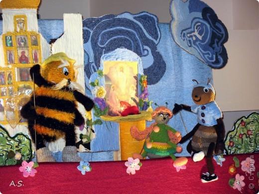 """На Пасху ставили спектакль """"Тёплая слезинка"""" для детей. И куклы и все декорации связаны крючком. Такие необычные декорации к спектаклю сделали мастерицы из нашего семейного клуба """"Ковчег"""" фото 5"""