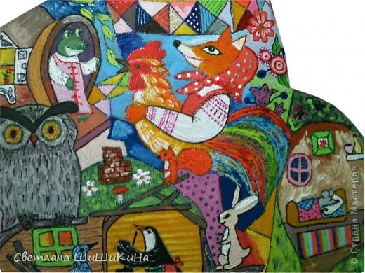 Люблю деток очень-очень... Как увижу что-то красивое и детское, так сразу же и хочется деткам в наш садик сделать. Есть такая замечательная художница Оксана Заика. Вот с её - то рисунка и слизана роспись. Это не копия, но я старалась нарисовать близко к оригиналу. Надеюсь наши детки найдут тут знакомых сказочных героев. Итак, прошу любить и жаловать: Котик I - Сказочный. фото 5
