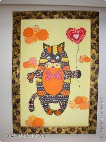 Очень понравились батики Елены Разиной, особеннно с котом http://razinalena.gallery.ru/watch?ph=29z-b77QQ, вот и себе такого нарисовала. Подарила сестре на день рождения. фото 2