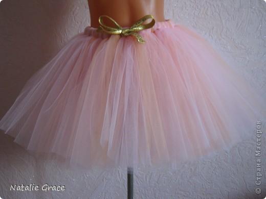 юбка-пачка: цвет бледно-розовый+персиковый. талия 50-60 см, длина 32 см фото 1