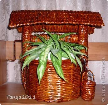 """Можно украсить комнату или подоконник  плетёным """"заросшим колодцем"""". Таким кашпо можно удивить гостей и порадовать себя."""
